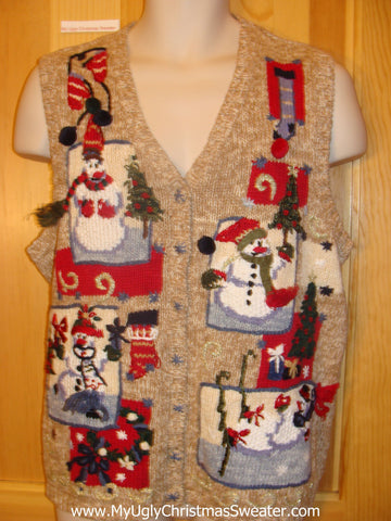 Ugly Christmas Sweater Party Jumper Vest with Colorful Snowmen