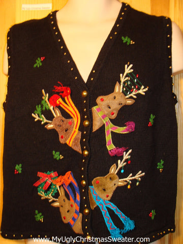 Tacky Ugly Christmas Sweater 2sided Vest with Peaking Reindeer with Scarfs (f202)