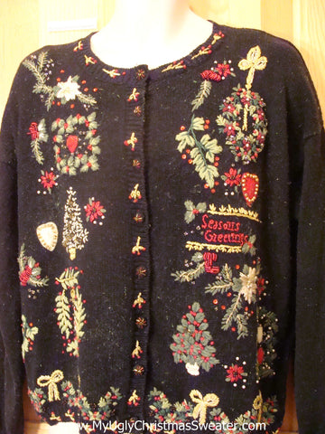 Ugly Christmas Sweater Party Jumper with Seasons Greetings