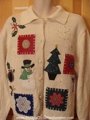 Ugly Christmas Sweater Party Jumper with Embroidered Horrible Snowflakes