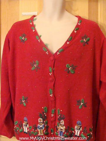 Ugly Christmas Sweater Cheesy Jumper with Nutcrackers