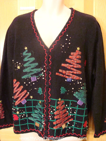 Horrible Black Ugly Christmas Sweater with Plaid Trees