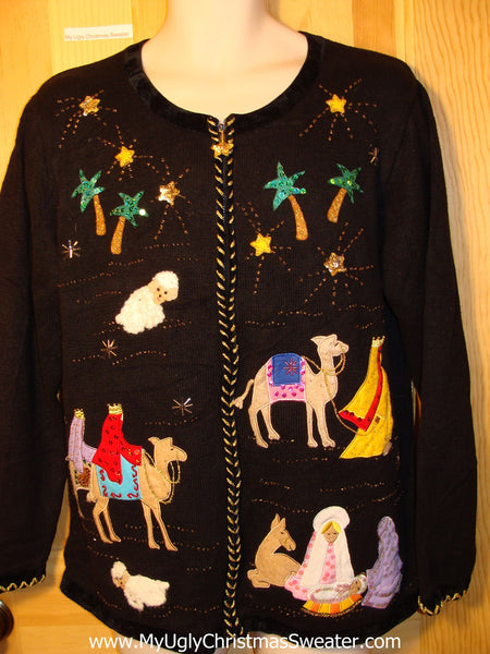 Tacky Ugly Christmas Sweater With Baby Jesus And Wise Men Tropical P