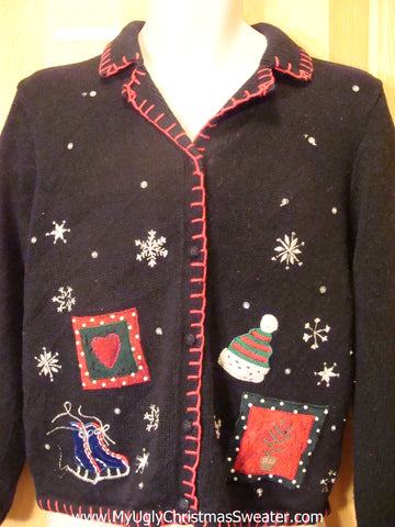 Cheesy Two Sided Black Tacky Christmas Sweater