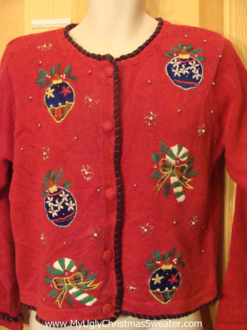 80s Bling Ornaments Ugly Christmas Sweater