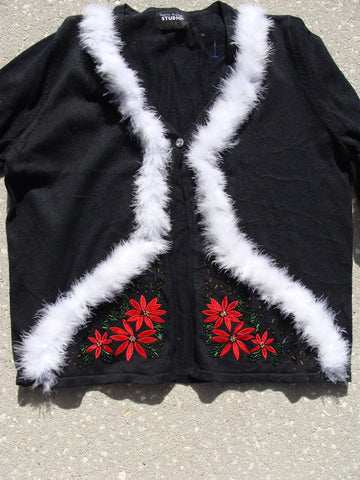 Red Poinsettia Cheesy Ugly Christmas Sweater