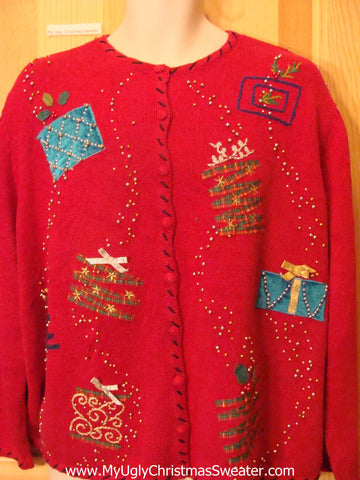 Cheesy Bling Ugly Christmas Sweater Ladies or Mens XXXL