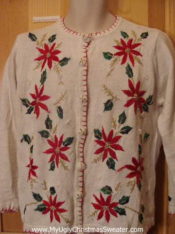 Corny Ugly Christmas Sweater Jumper with Poinsettias and Ivy
