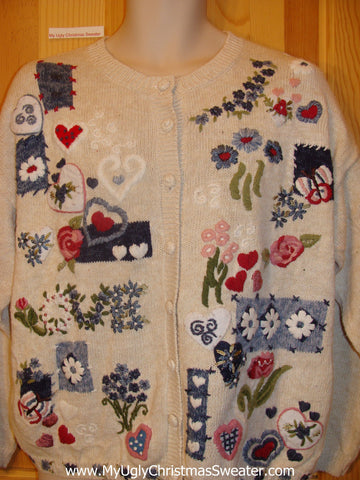 Cheap Ugly Cardigan Sweater with Hearts and Flowers