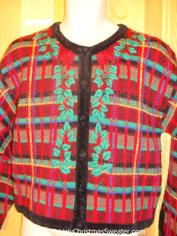 Plaid Two Sided Ugly Christmas Sweater Cheesy Cardigan