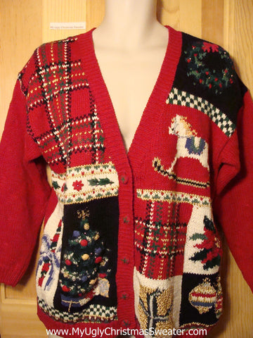 Tacky Ugly Christmas Sweater 80s Plaid Grid Style with Rocking Horse & Tree (f204)