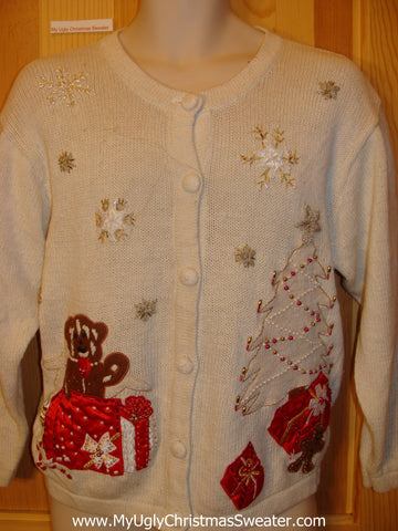 Ugly Christmas Sweater Party Jumper with Bling Bear and Tree