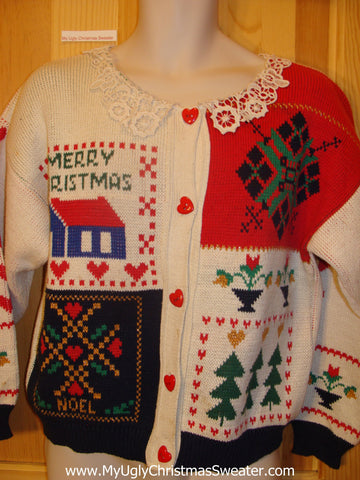 80s Retro Cheesy Two Sided Ugly Christmas Sweater