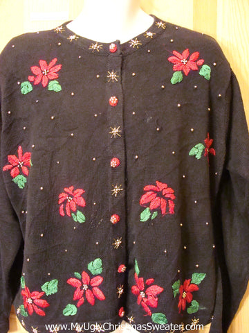 Cheesy Ugly Christmas Sweater with Festive Poinsettias and Ivy