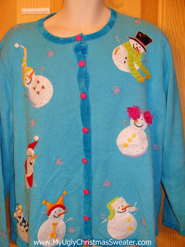 Bright Blue Ugly Christmas Sweater with Bling Snowmen