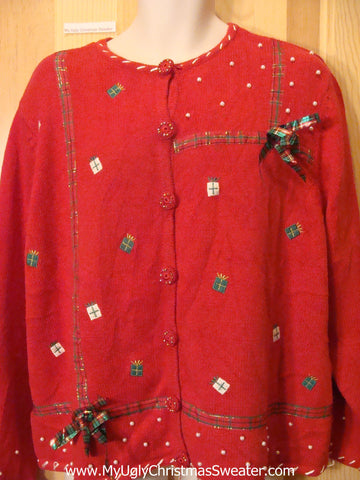 Ugly Christmas Sweater with 3D Plaid Bows and Bling
