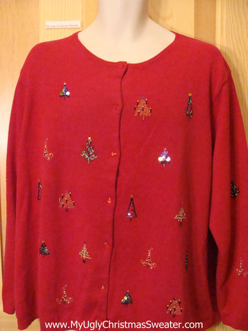 Red Ugly Christmas Sweater Jumper with Bling Trees