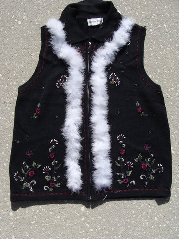 Cheesy Black Ugly Christmas Sweater Vest with Flowers