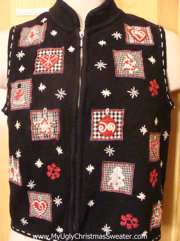 Ugly Christmas Sweater Vest with Plaid Blocks of Festive Xmas Decoration