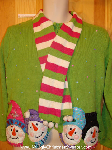Green Ugly Christmas Sweater with Scarf and Snowmen