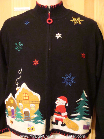 Winter Wonderland Black Ugly Christmas Sweater with Santa