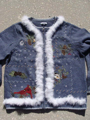 Birds and Cardinals Ugly Christmas Sweater
