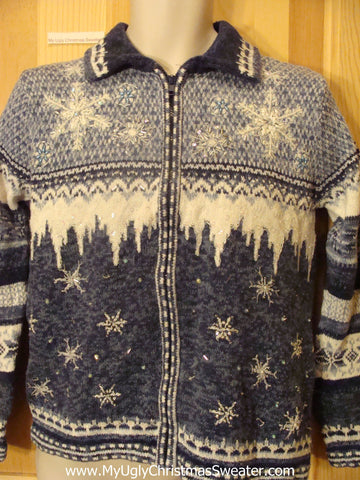 Ice and Snow Ugly Christmas Sweater Two Sided Pattern