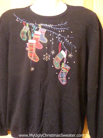 80s Black Ugly Christmas Sweater with Stockings