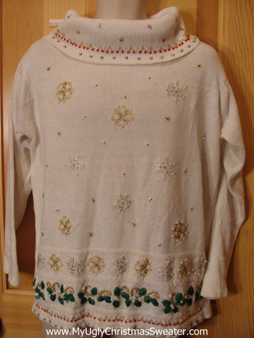 Ivory Ugly Christmas Sweater with Wide Neck and Bling