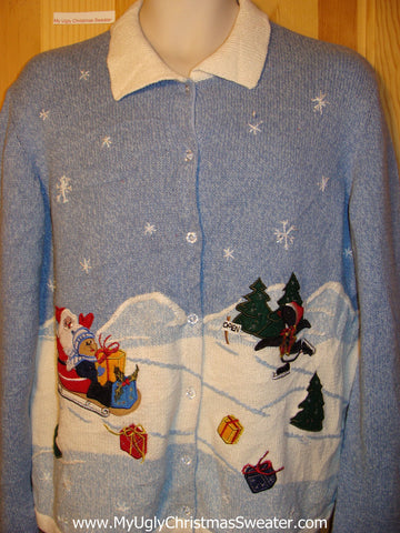 Tacky Ugly Christmas Sweater with Sledding Santa and Skating Penguin in a Winter Wonderland  (f206)