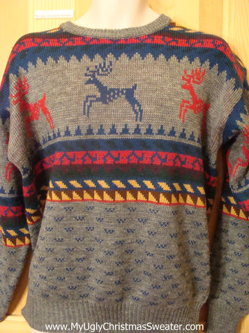 Vintage Reindeer 2sided Ugly Christmas Sweater