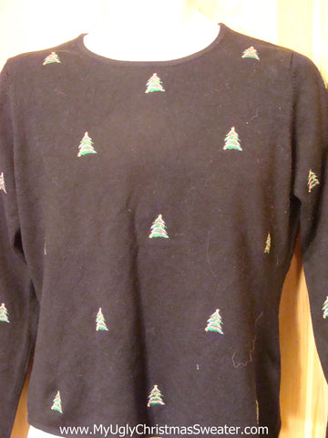 Cheap Ugly Christmas Shirt with Trees on Front, Sleeves