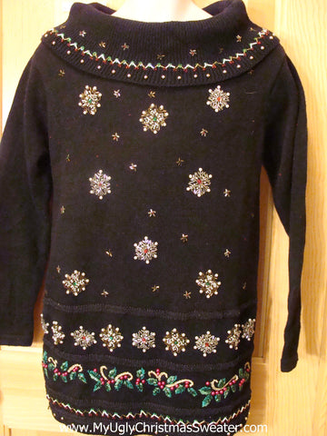 Black 80s Ugly Christmas Sweater with Bling Snowflakes