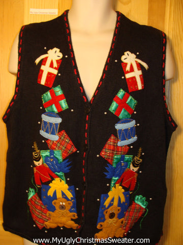 Tacky Ugly Christmas Sweater Vest Bears and Tumbling Stacked Gifts (f207)