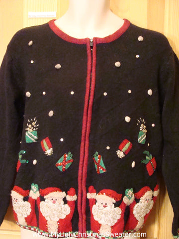Ugly Christmas Sweater with Juggling Santas