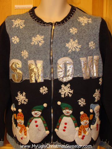 SNOW and Snowmen Ugly Christmas Sweater