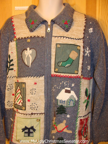 Ugly Christmas Sweater  with Plaid Theme and Reindeer