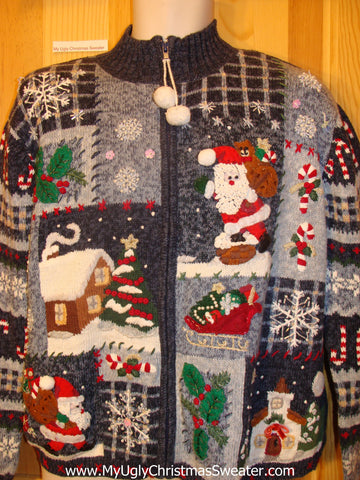 Ugly Christmas Sweater with Pom Pom Zipper Pull