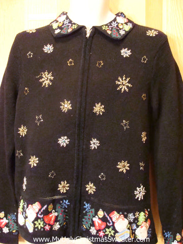 Black Ugly Christmas Sweater with Snowflakes