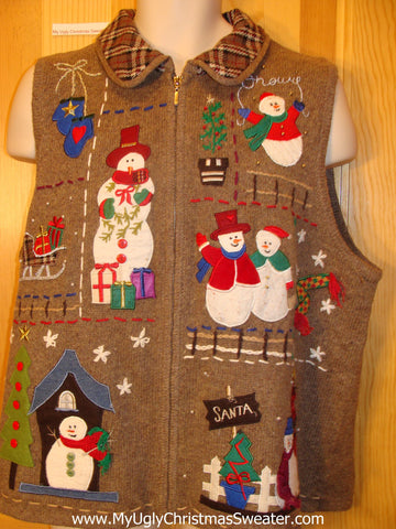 Horrible Cheesy Ugly Christmas Sweater Vest with Plaid Colla