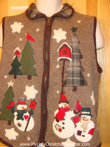 Brown Corny Ugly Christmas Sweater Vest with Plaid Collar