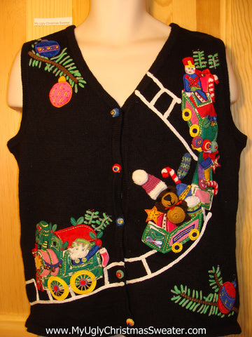 Tacky Ugly Christmas Sweater Vest 2sided Pattern of Train & Toys (f208)