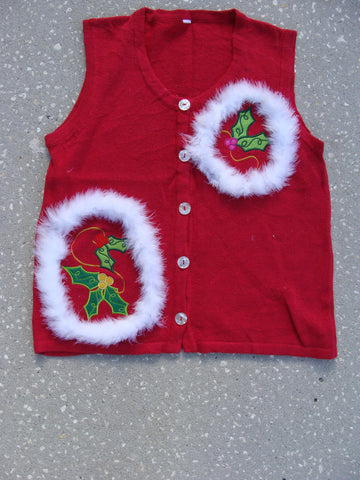 Cheap Red Ugly Christmas Sweater Vest with Ivy