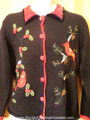 Ugly Christmas Sweater with 80s Red Cardinal Birds