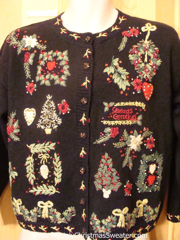 80s Crazy Ugly Christmas Sweater with Seasons Greetings