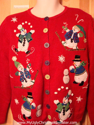 Tacky Ugly Christmas Red Sweater with Snowball Juggling Snowman with Iceskates & Skis (f209)