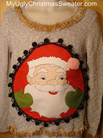 Ugly Christmas Sweater Huge Happy Santa with Green Mittens & Fringe