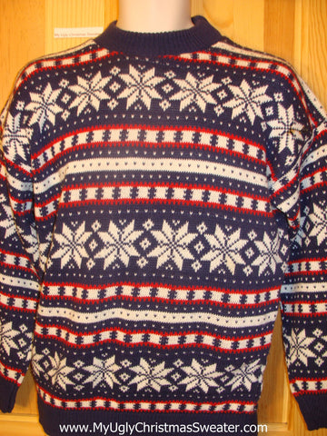 Ugly Christmas Sweater Nordic Snowflakes Front and Back