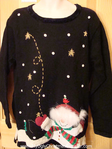 Ugly Christmas Sweater Furry Snowman Front Back