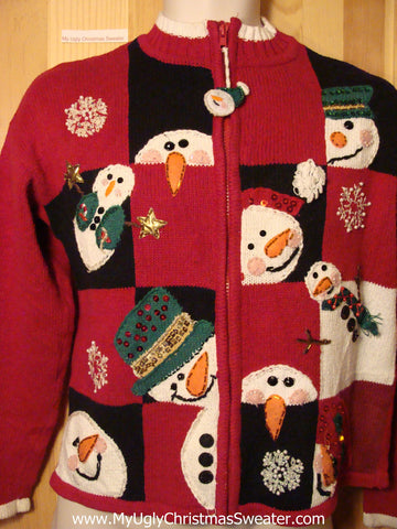 Tacky Ugly Christmas Sweater Grid of Peaking Carrot Nosed Snowmen (f210)